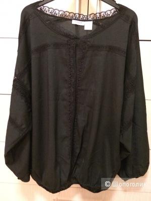 Черная блузка свободный крой 46-50разм.