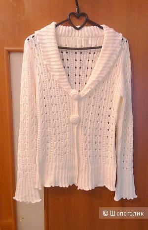 Нежный ажурный жакет 44-го размера белого цвета