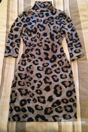 Леопардовое, трикотажное платье, размер М