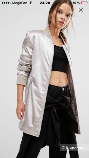 Удлиненная атласная куртка-пилот Boohoo Petite размер uk14-eur42