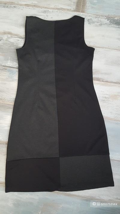 Черно-серое трикотажное платье-сарафан, MODIS, р-р S, б/у