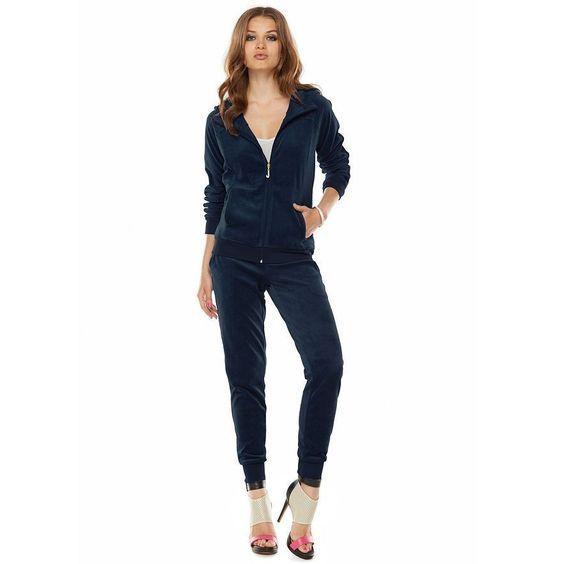 38f4b684480a9 Велюровый костюм Juicy Couture, темно-синий, размер S (42-44), в ...