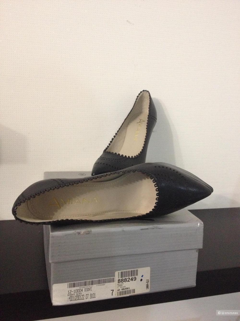 Туфли Amiana новые кожаные ЧЕРНЫЕ размер 7 амер., 38 евро, 25 см стелька