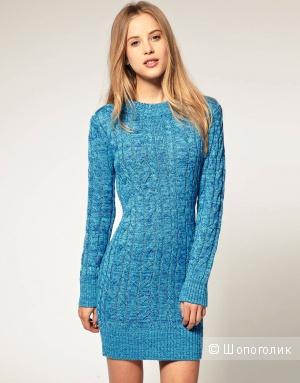 Новое бирюзовое вязаное платье М