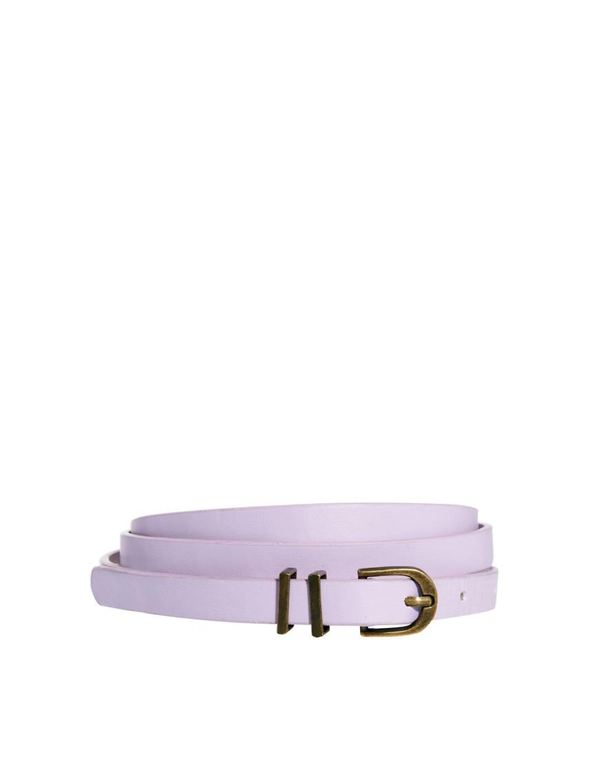 ASOS Metal Keeper Super Skinny Belt - Lilac / S