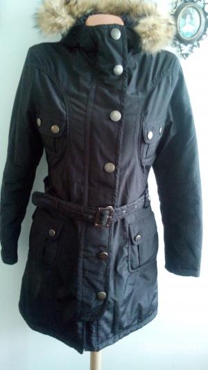 Куртка -парка длинная  MISS KISS с натуральным мехом черная размер М(44-46)