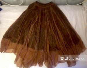 Воздушная юбка из золотистого шифона
