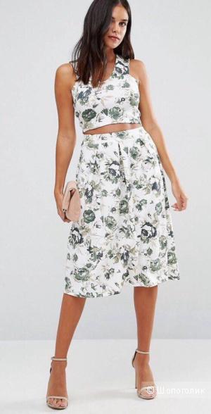 Кроп-топ и юбка с цветочным принтом Wal G, размер М(42-44)