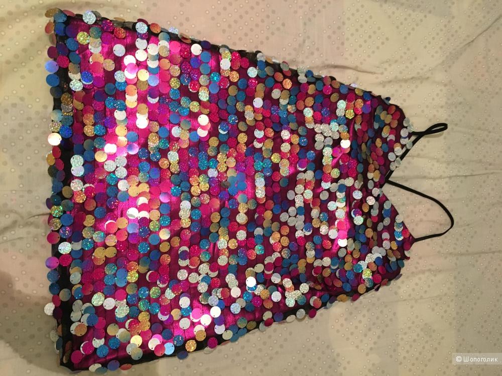 Платье на тонких бретельках с пайетками ASOS Petit, размер 40-42