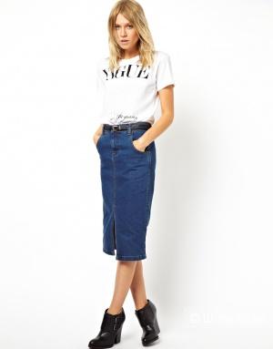 Джинсовая юбка‑карандаш миди с разрезом спереди ASOS