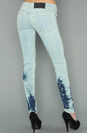 Cheap Monday The Zip Low Jean in Batik Blue Джинсы синие зауженные Размер 26/32