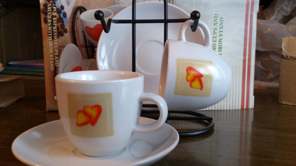Чашечки для эспрессо, 50 мл, 2 шт на металлической подставке