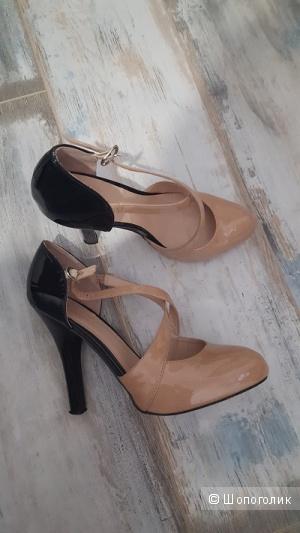 Лакированные туфли на каблуке, 39 р-р, б/у