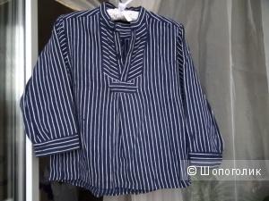 Рубашка с воротником стойкой в морском стиле, размер 42-44, б/у