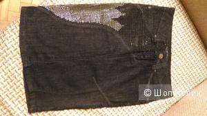 Джинсовая юбочка со стразами, размер 26 (42)