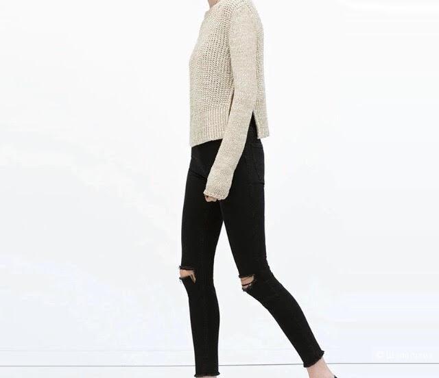 Черные джинсы с дырками, новые, размер M