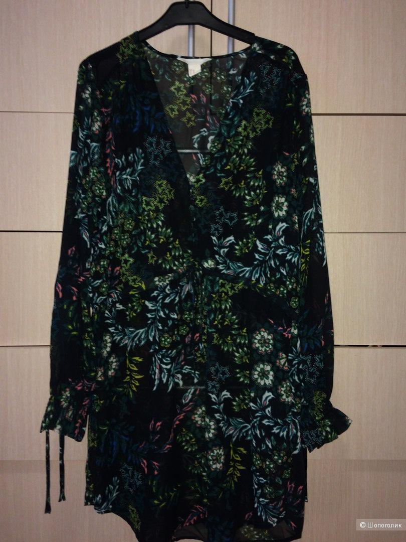 Шифоновое платье-туника с принтом H&M 46--48разм.