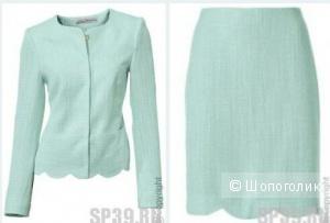 Пиджак и юбка мятный костюм 48 разм