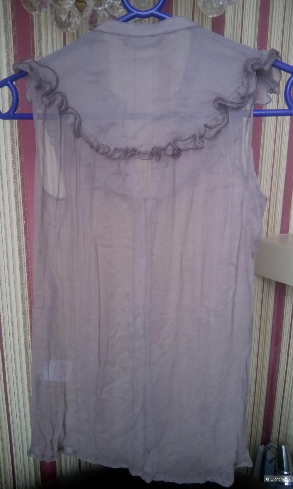 Красивая блузка без рукавов из натурального жатого шелка River Island uk8 цвет капучино