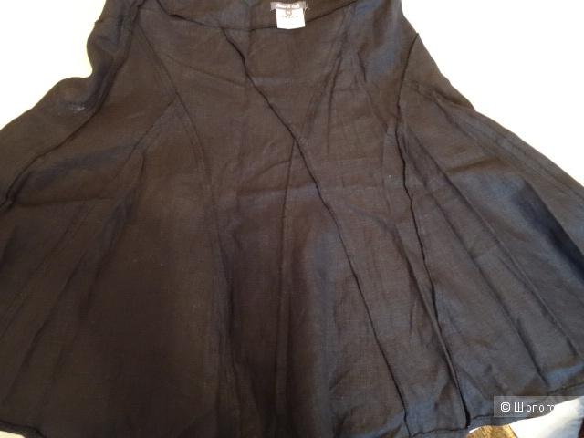 """Юбка 100 % лён """"Russo&Conti"""" в чёрном цвете, размер 42-44, б/у"""