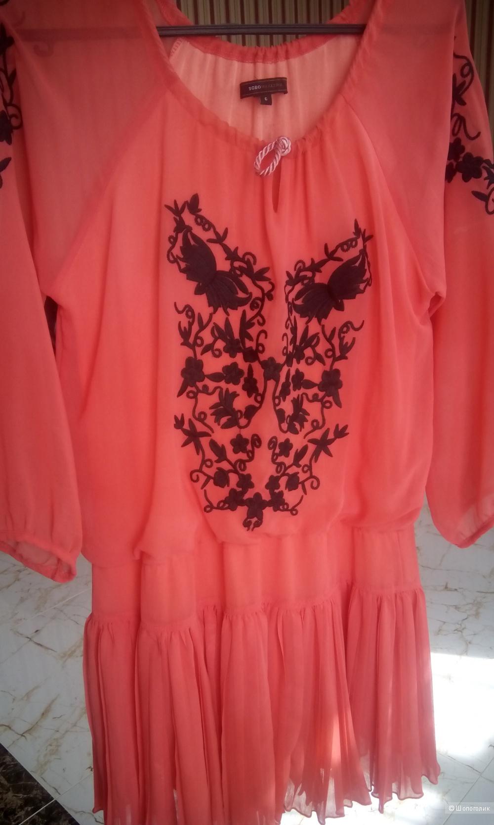 Красивое платье кораллового цвета BCBG Max Azria размер 6us