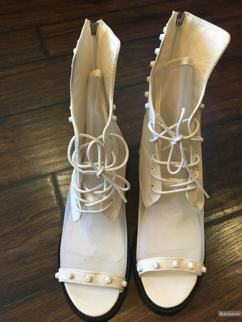 Летние открытые ботинки, размер 24,5 по стельке, белые. Кожа.
