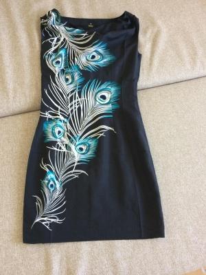 Платье черное с пером р-р 44