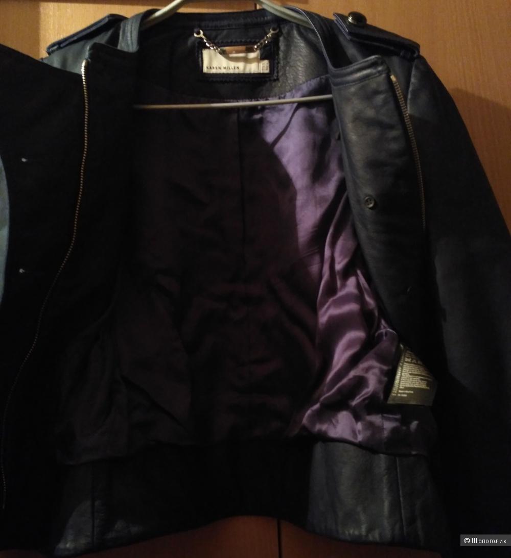 Синяя куртка Karen Millen мало б/у натур.кожа UK14