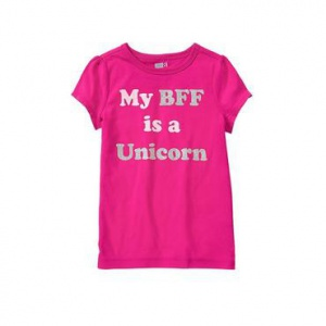 Футболка S 5-6 лет хлопок My BFF is a Unicorn Tee Item 140156849 Bright Pink crazy8