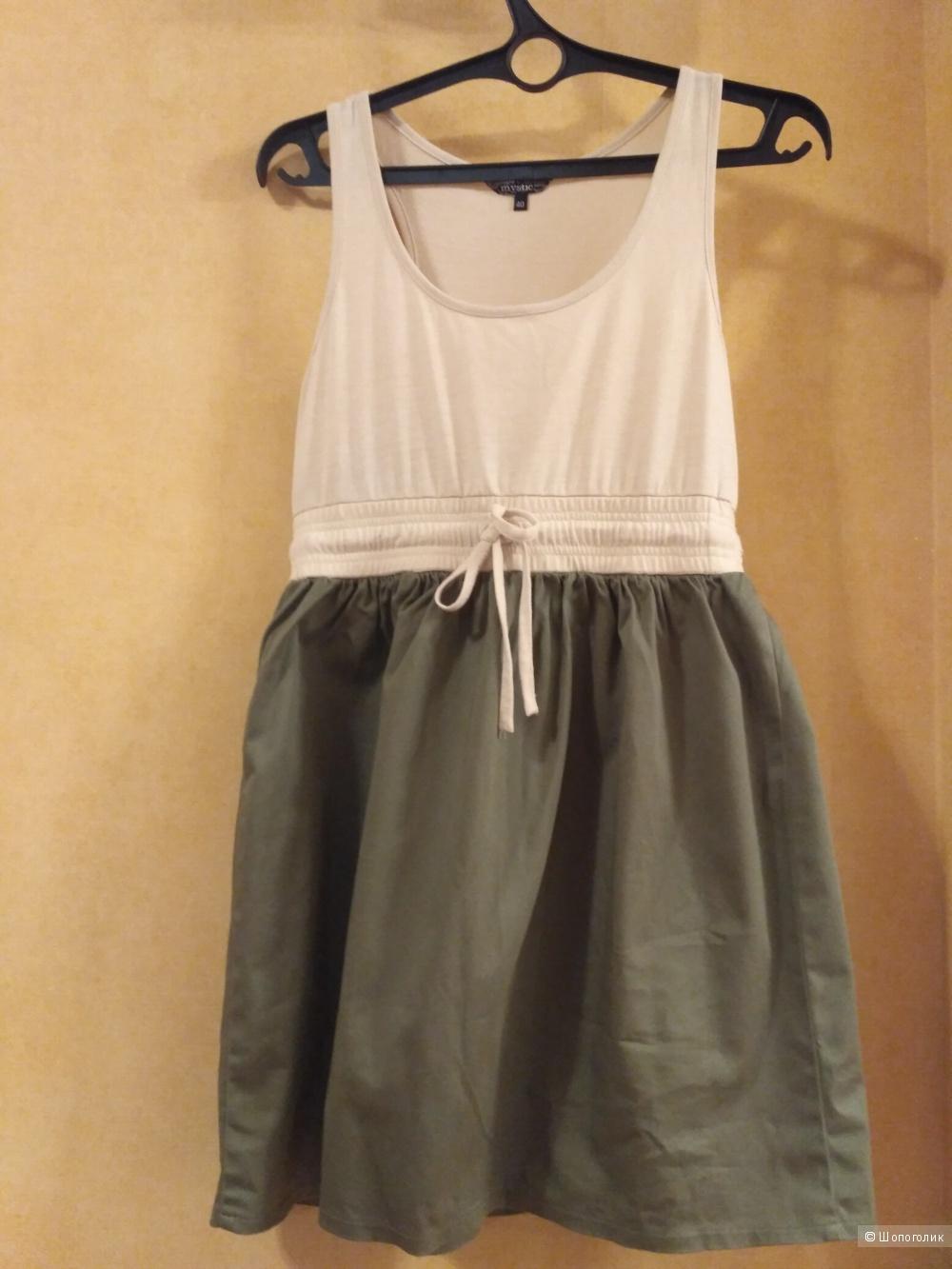 Летнее бежево-зеленое платье 44 размер, фирма Mystic, хлопок