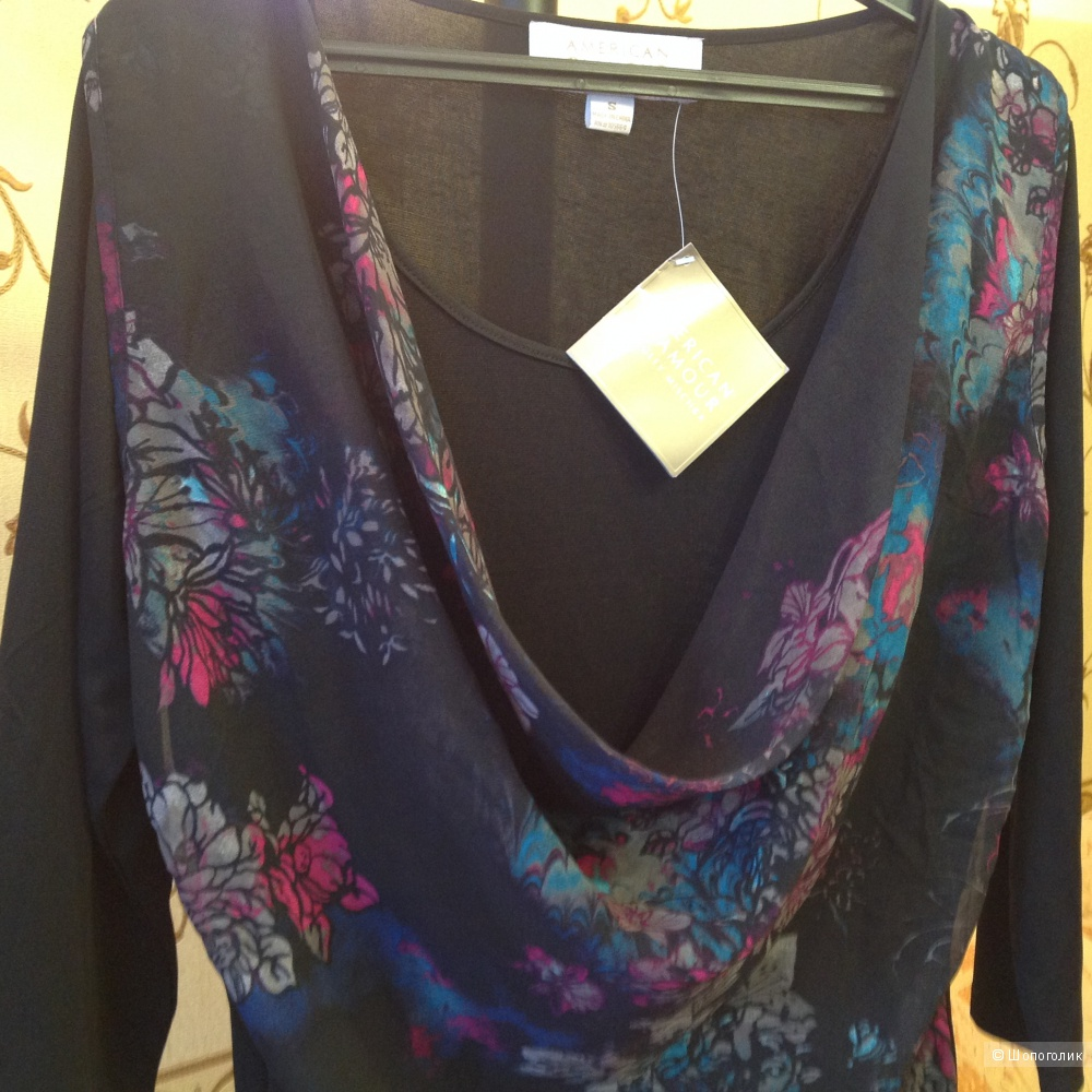 Трикотажная блуза с шифоном   Badgley Mischka размер S, на наш 46 размер