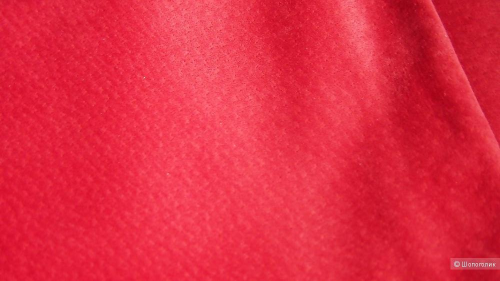 Эффектная юбка из красной велюровой замши, размер M