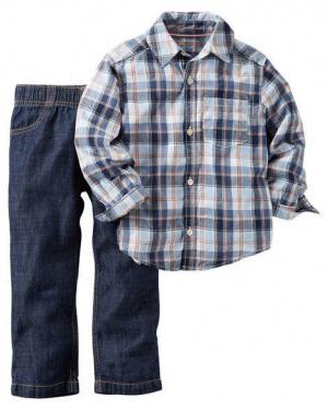 Комплект рубашка и джинсы на 2 года 88-93см 13-15 кг 2-Piece Shirt Pant Set Style 249G113 2T Plaid
