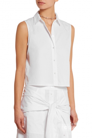 T by Alexander-Wang cropped cotton-twill top