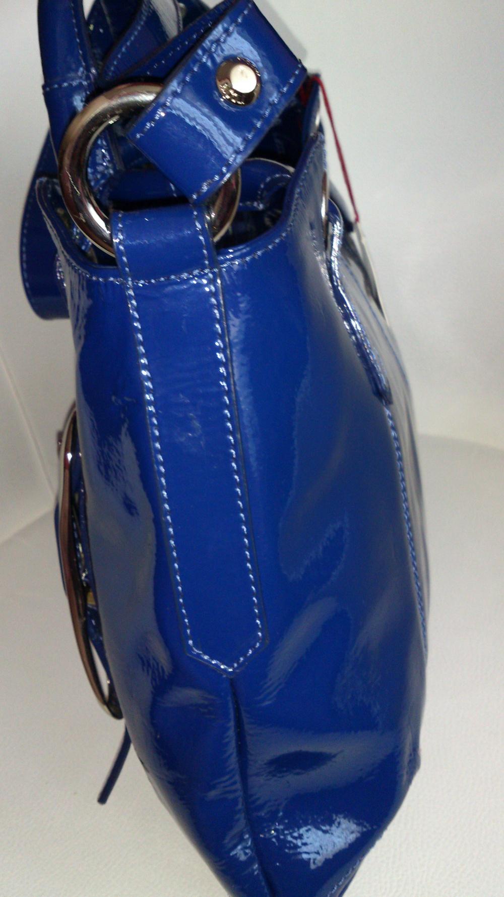 Сумка лакированная синяя NICOLI, Италия