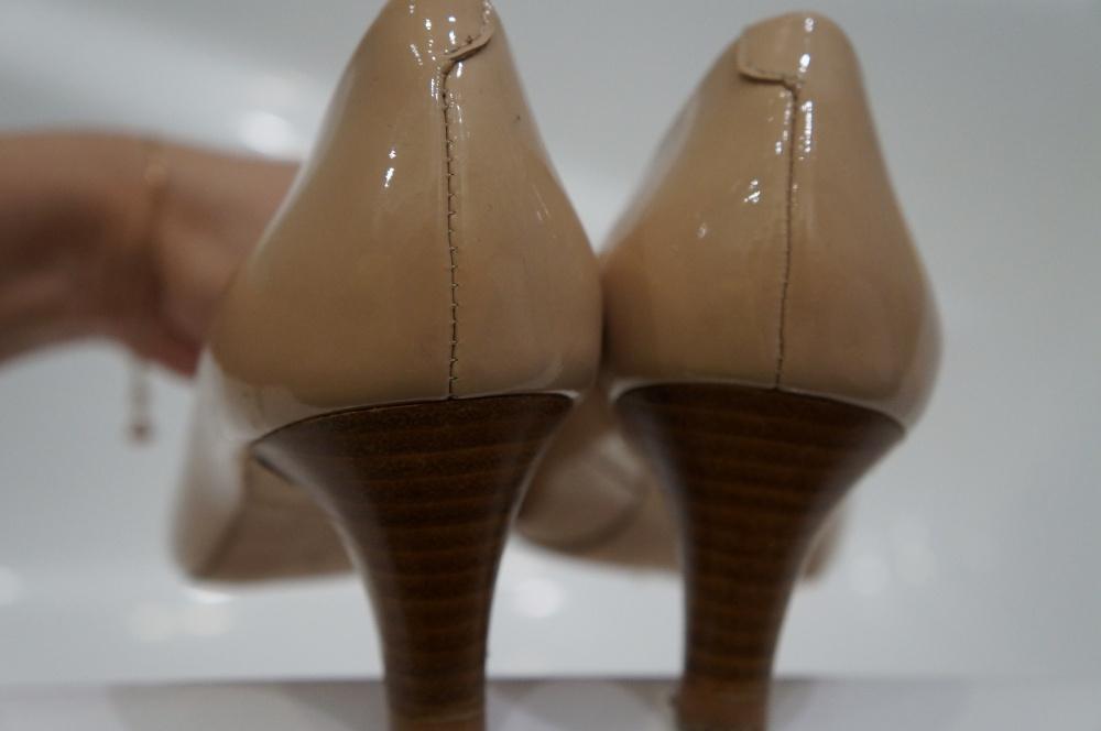 Лаковые кожаные туфли бежевые, б/у, 37 размер