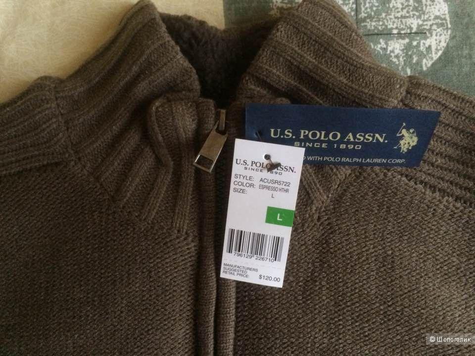 """Мужская утепленная кофта на молнии """"Polo Assn"""". Размер L, Новая вещь."""