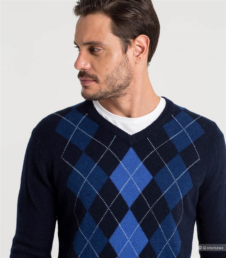 Woolovers Новый Мужской пуловер с ромбами из натуральной шерсти ягненка р. XL