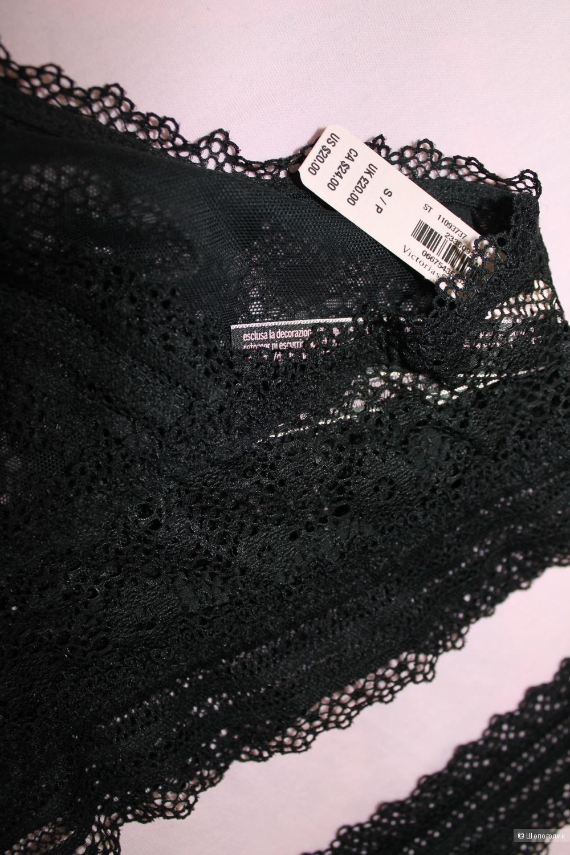 Бралетка с трусиками Victoria's Secret (High-neck Bralette+Medallion Lace Thong Panty), черные, размер S