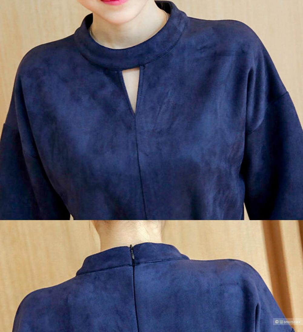 Платье весна-осень из ткани под замшу