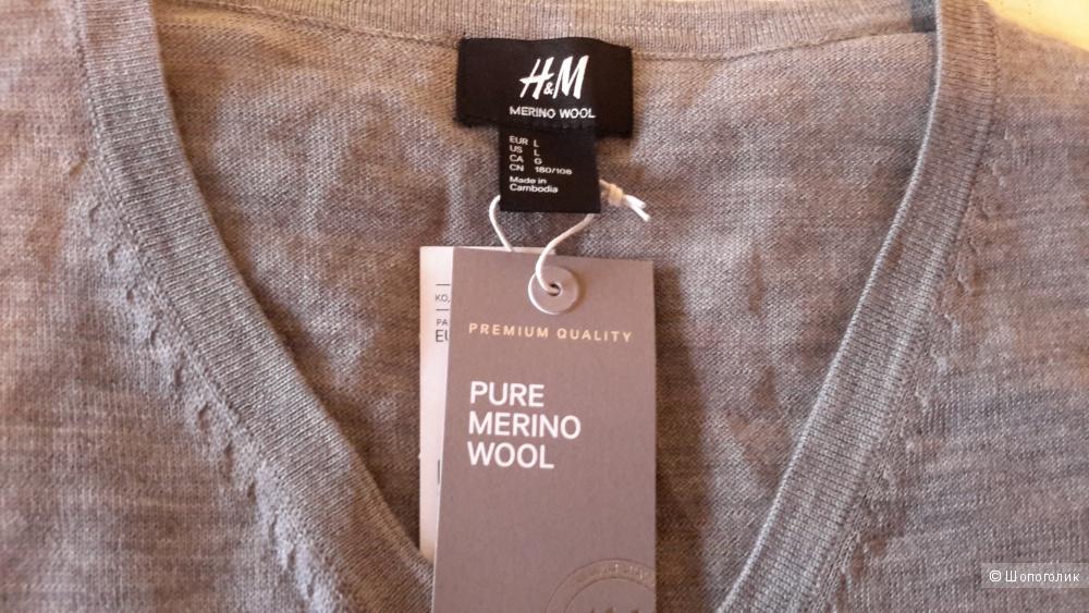 Джемпер мужской H&M 100% шерсть размер L