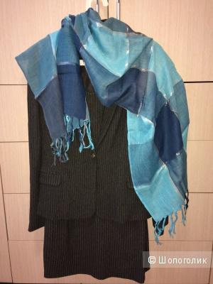 Бирюзовый легкий шарф-палантин
