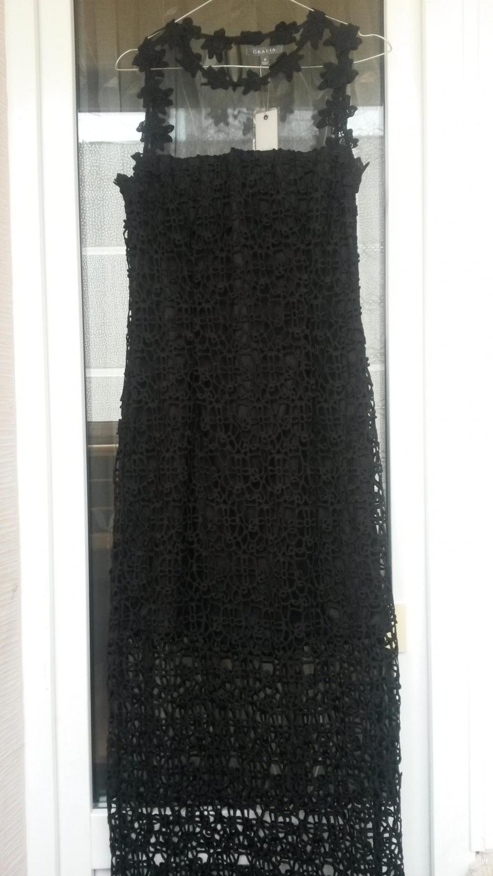 Длинное черное плате Gracia размер М