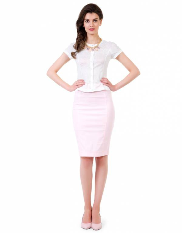 Юбка-карандаш Lo нежно розового цвета размер 46