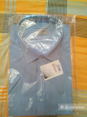 Мужская классическая рубашка с коротким рукавом,  ворот 43