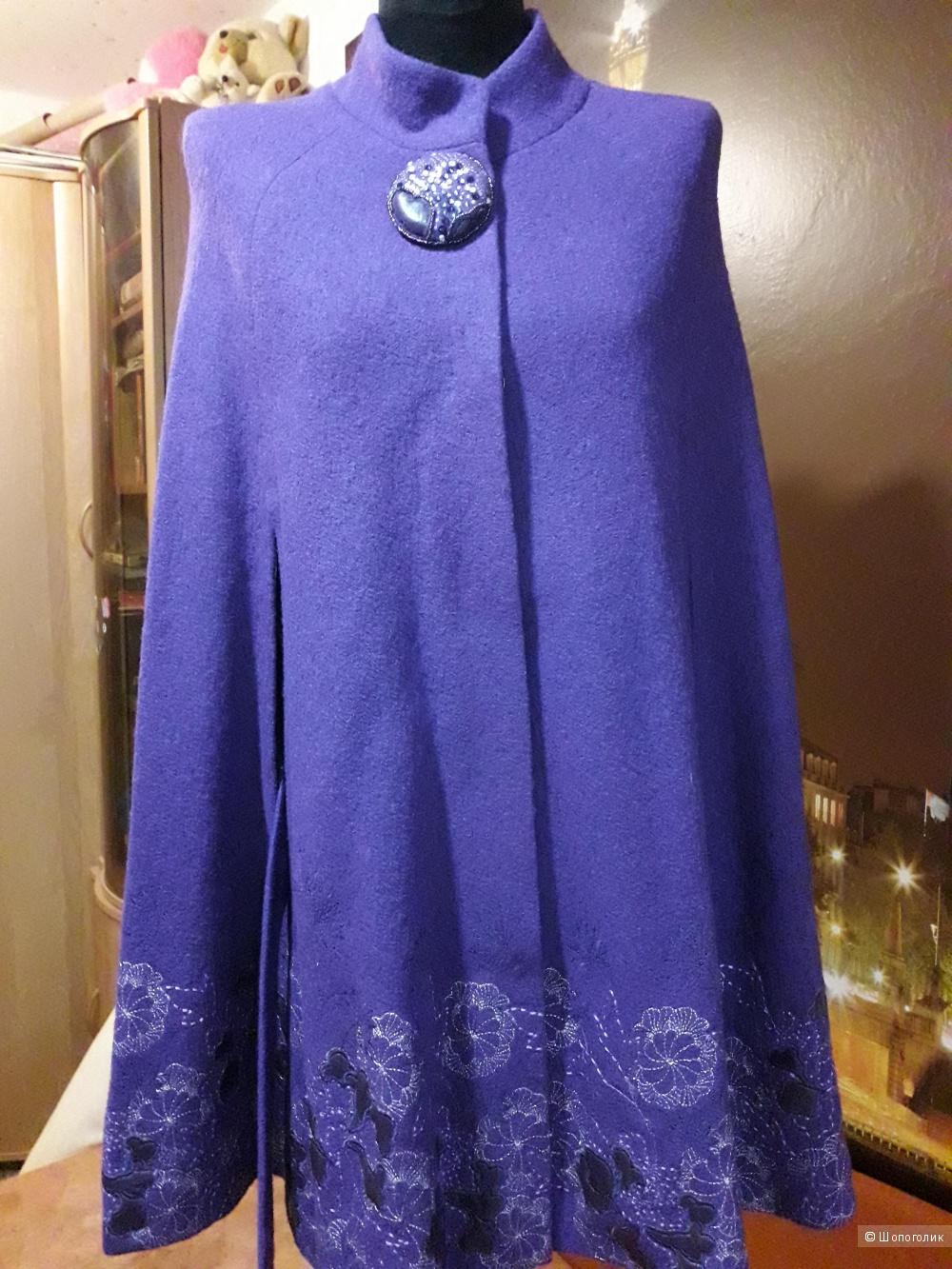 Кейп фиолетовый с вышивкой ,р 42-44