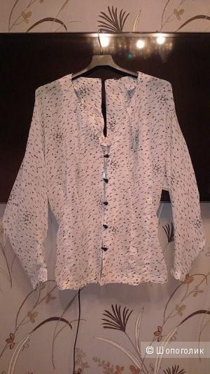 Masha Kravtsova, белая блузка, размер 46-48. Легкая полупрозрачная приталенная блузка, свободная в груди.