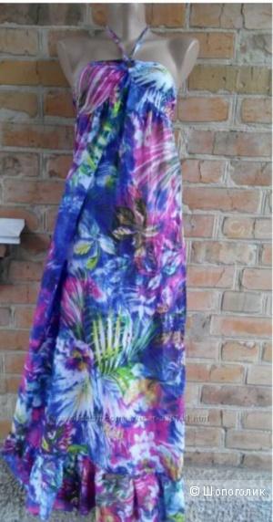 Легкий летний сарафан в пол, красивой расцветки Ocean Club размер 10uk