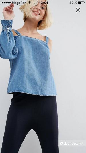 Новый джинсовый лонгслив с открытыми плечами ASOS (размер 8uk-36eur)