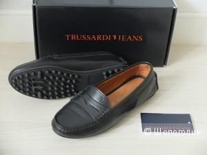 Мокасины Trussardi jeans, кожаные, немного б/у, оригинал, размер 35.